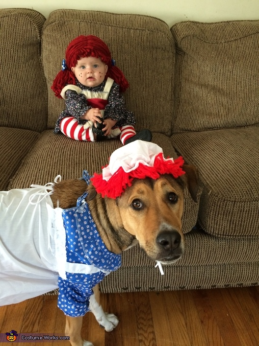 Raggedy Ann and her puppy sidekick, Raggedy Ann Baby Costume