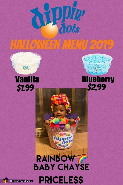 Dippin Dots Menu, Rainbow Dippin' Dots Costume