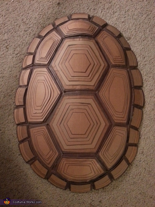 Homemade shell out of cardboard pieces, Raphael Costume