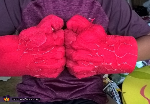 red hulk hands completed, Red Hulk Costume