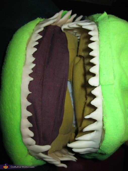 The teeth are made out of glow-in-the-dark polymer clay, Reptar Costume