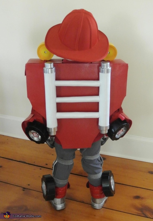 Back View, Rescue Bot Heatwave Costume