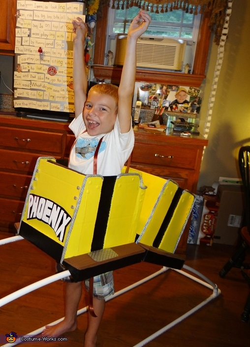 Eli's Trial Run during construction, Riding a Roller Coaster Costume