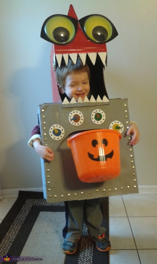 He's one happy kid., Robo Dino Costume