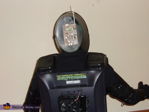 Back of costume detail view with circuit board and antenna, Robot Costume