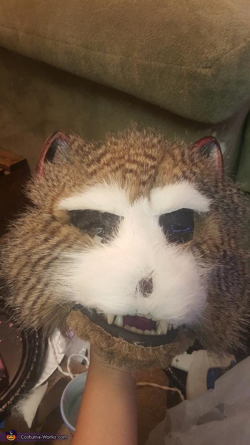 Starting on the head, Rocket Raccoon Costume