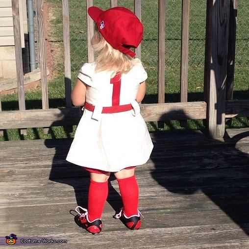 Sawyer looks like a doll in this picture , Rockford Peach Baseball Player Costume