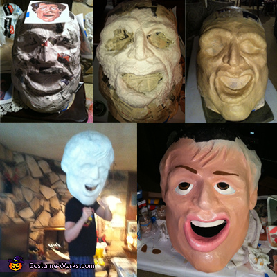 Rocky papier mache head in different stages of completion, Rocky and Mr.T Homemade Costumes