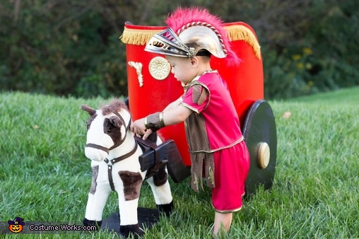 Tending to my horse, Roman Soldier Baby Costume