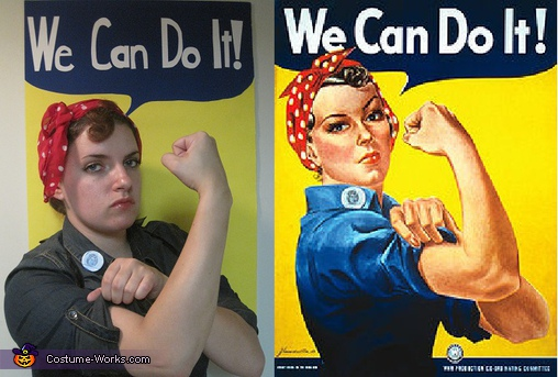 Compared to the real thing; not too shabby, eh?  , Rosie the Riveter Costume