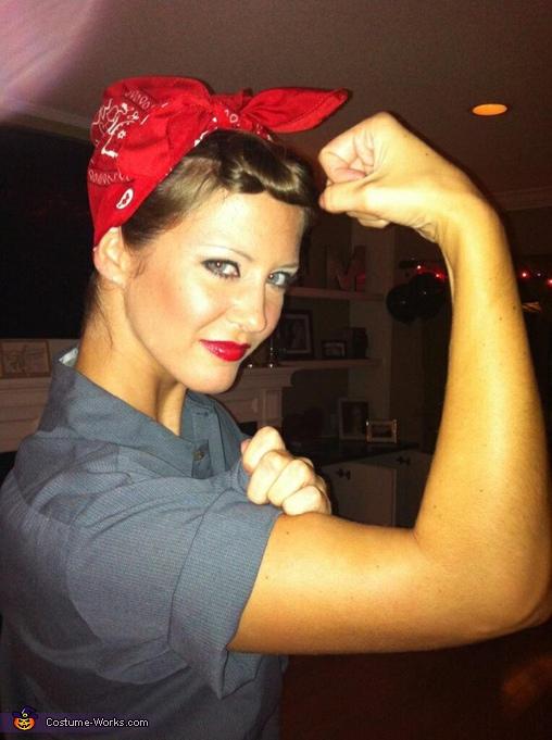 Rosie the Riveter Halloween Costume Beltcarf Jumpsuit Women