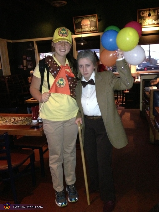 Before band rehearsal at Chilis, Russell and Carl Fredrickson from Disney's Up Costume