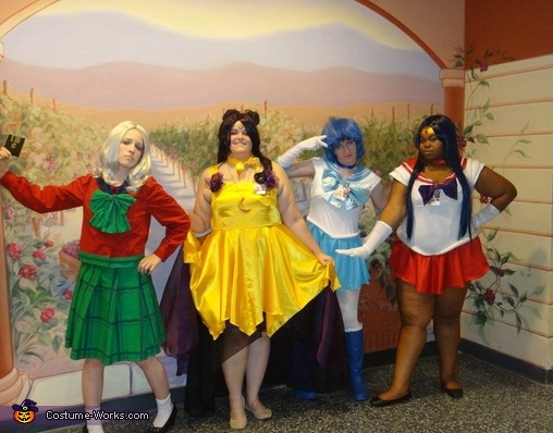 My friends and I cosplaying from the same anime series., Sailor Mars Costume