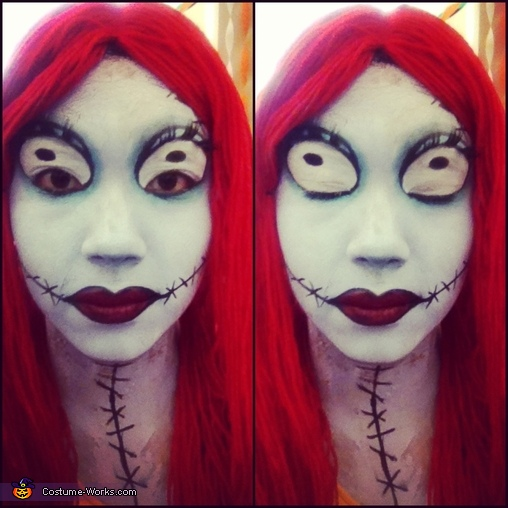Close up of Sally Face Paint with eyes opened and eyes closed. , Sally from Nightmare Before Christmas Costume