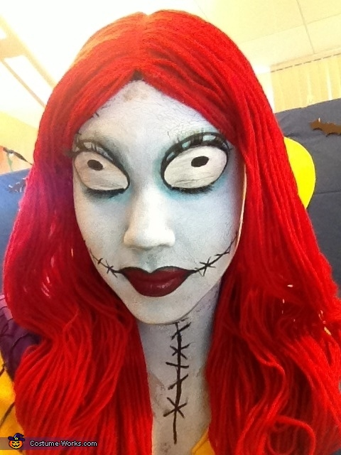 An additional close up of Sally's face paint., Sally from Nightmare Before Christmas Costume