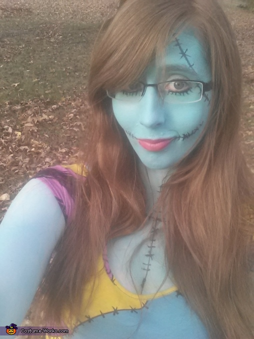 was completely surprise most makeup stayed on through whole day of working ..we except for a little smudge here and there, Sally from Nightmare Before Christmas Costume