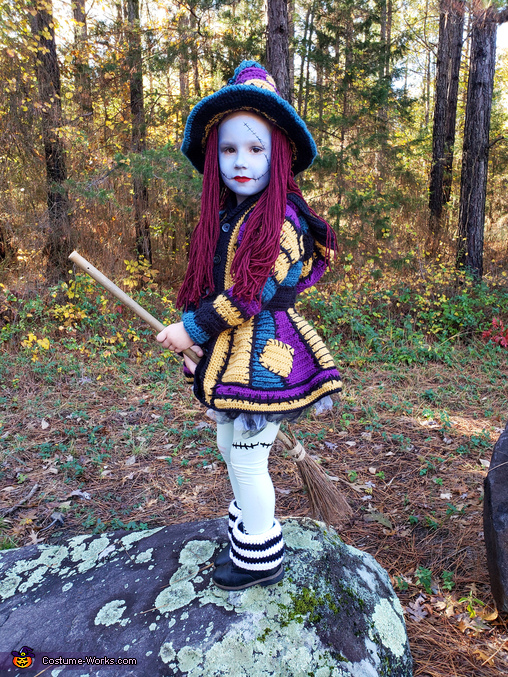 Sally Witch riding broom, Sally Witch Costume
