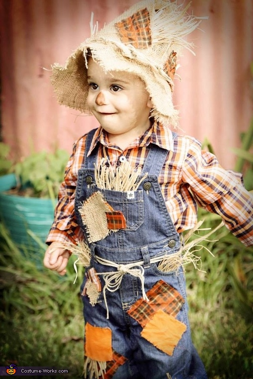 He actually loves wearing all that itchy stuff, Cute Scarecrow Baby Costume