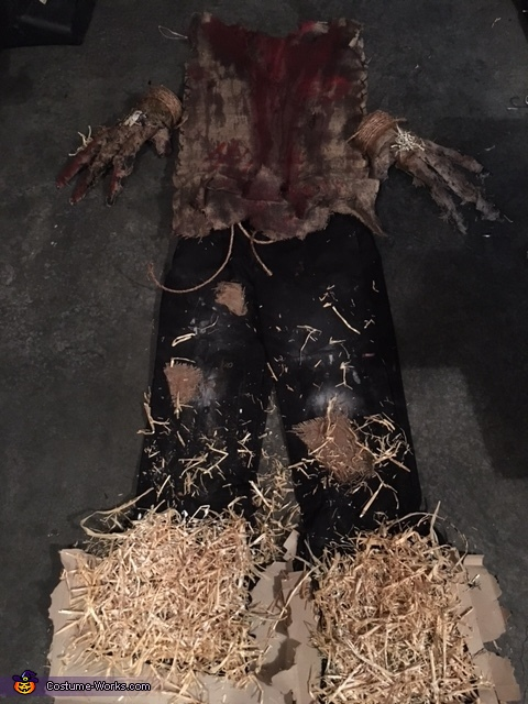Costume pieces - pants, gloves and burlap vest, Scared Crow Costume