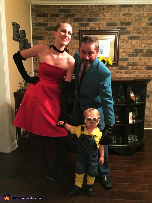 "Scarlet, Herb ""Blurb"" Overkill and Bob the Minion Costume"