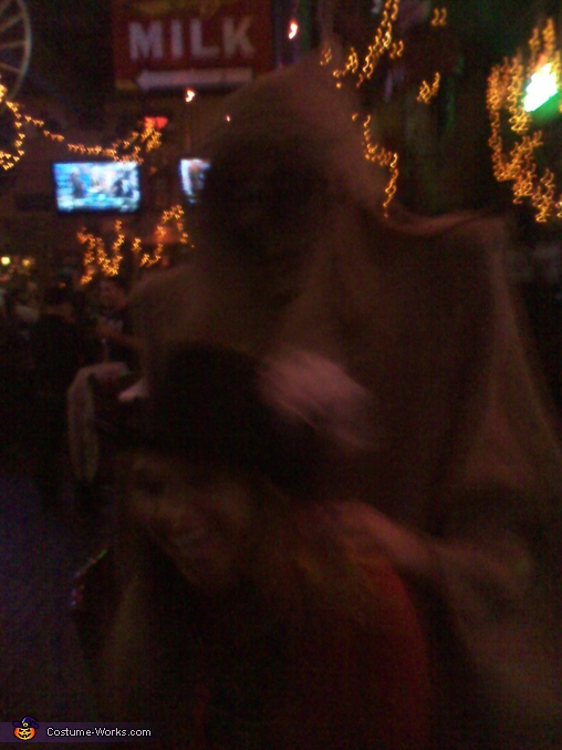 Cute girl and 7'foot scary guy, Scary Costume