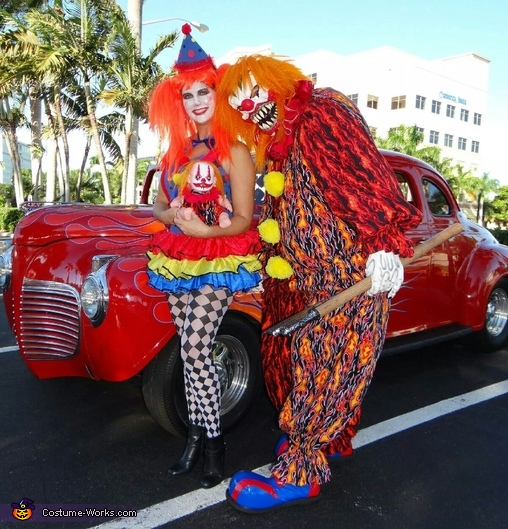 Scary Clown & Nice Clown Couple Homemade Costume