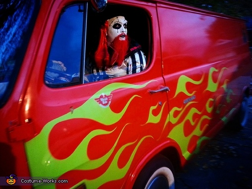 driving our clown mobile, Scary Killer Clowns Costume