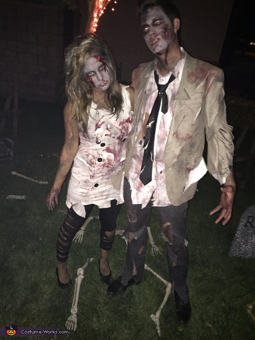 zombie couple , Scary Zombie Family Costume