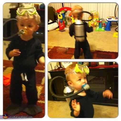Scuba Diver. Front , back, & side view , Scuba Diver Baby Costume