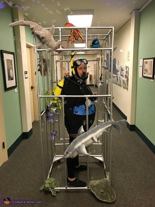 Scuba Diver in a Shark Cage Costume