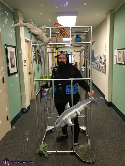 front view, Scuba Diver in a Shark Cage Costume