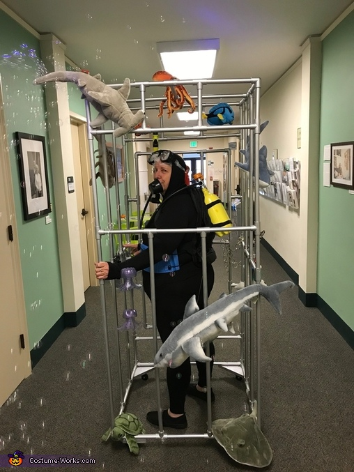 left view, Scuba Diver in a Shark Cage Costume