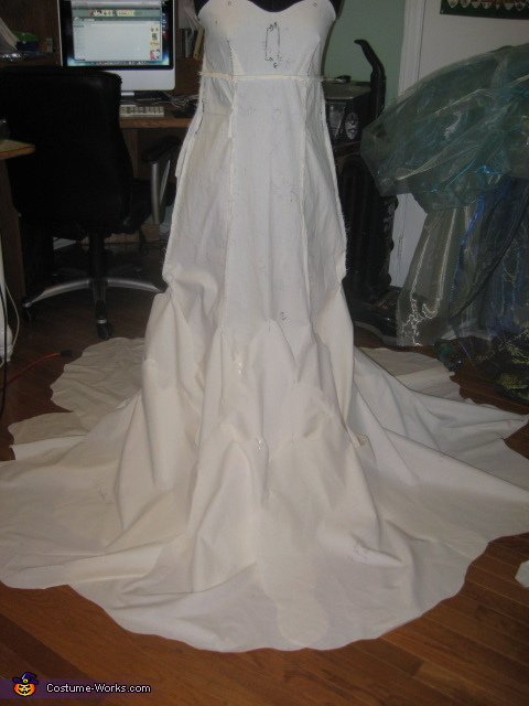 Muslin mock-up over layer/wake pieces, Sea Beacon Costume