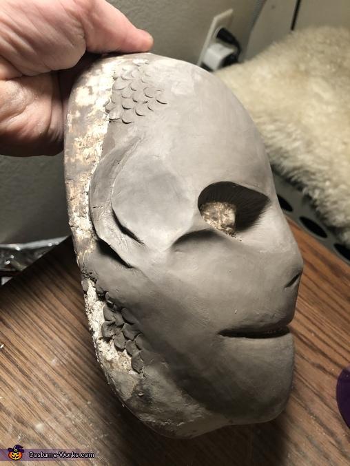 Clay sculpt side profile, Sea Siren Costume