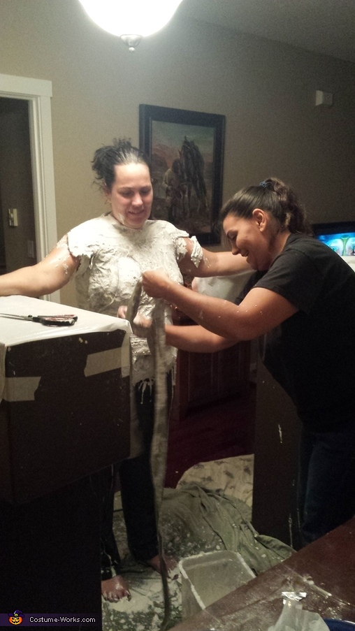 making the plaster body cast , Sea Siren Costume