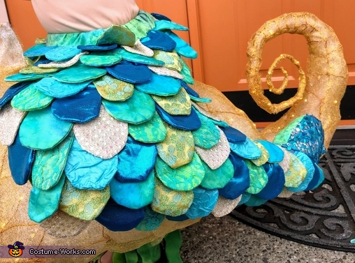 Detail of mermaid scales and seahorse tail, Seahorse-riding Mermaid Costume