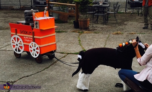 My puppy, Bruce, as a Clydesdale pulling a Brewery wagon, Seahorse and Mermaid Costume