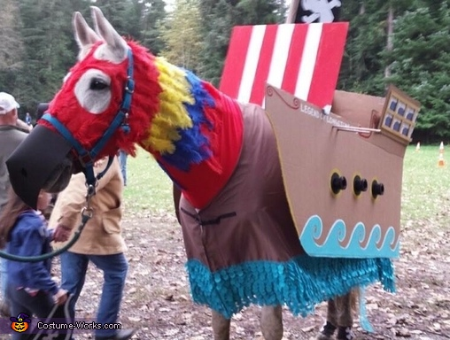 My horse, Inky, the macaw/pirate boat, Seahorse and Mermaid Costume