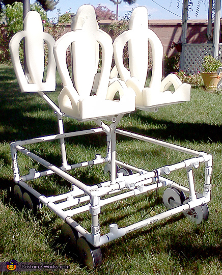 Manta Seats On Frame, SeaWorlds Manta Roller Coaster Costume Water Shooter