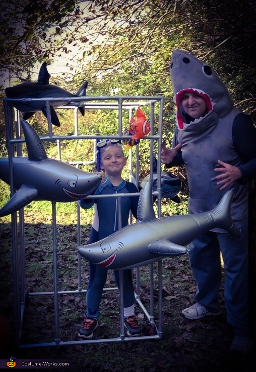 Shark Cage Diver and Shark Costume