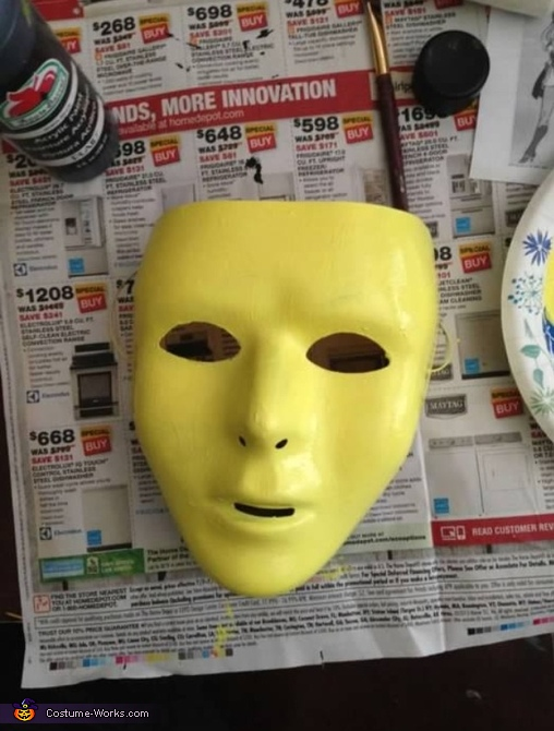 Here is the mask before I painted the details of the skeleton., She-Ra and Skeletor Costume