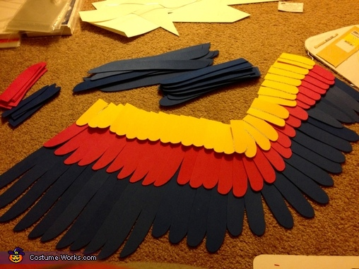 Wing under construction with feather layout, She-Ra and Swiftwind Costume