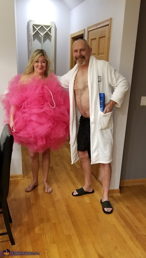 Shower Scrubbie and Man needing a Shower Homemade Costume
