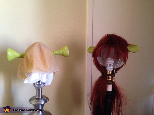 Just finished putting face paint on our Ogre ears. , Shrek and Fiona Costume