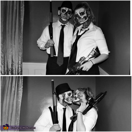 Skeleton Mafia Couple Homemade Costume