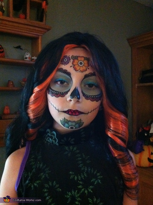 Face makeup close up, Skelita Calaveras Costume