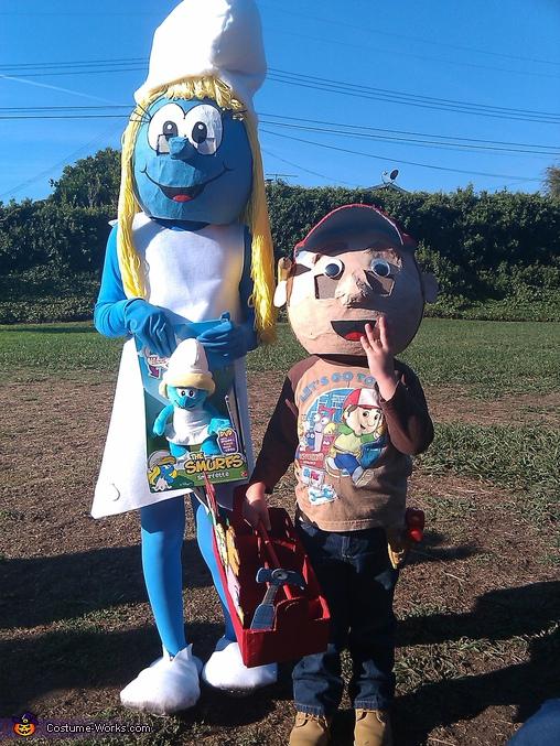 Smurfette, Handy Manny & tool box, & Papa Smurf, Homemade Smurfs Costumes