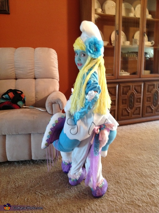 Smurfette riding a Unicorn Illusion Homemade Costume