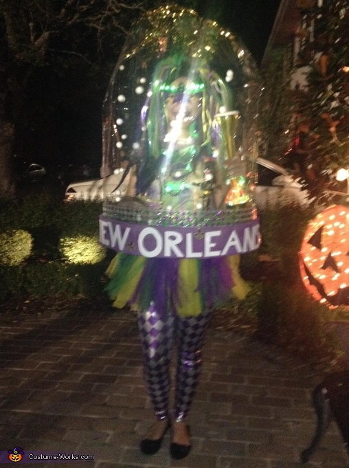 New Orleans at night, with lit up decorations on the Mardi Gras girl, Snow Globes - New Orleans and Hawaii Costumes