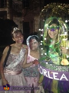 New Orleans girl hanging with friends at one of the block parties, Snow Globes - New Orleans and Hawaii Costumes